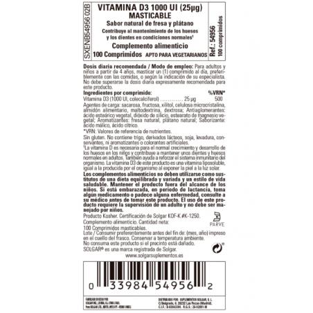 SOLGAR Vitamina D3 1000 UI (25microgramos) (Colecalciferol) 100 comprimidos masticables