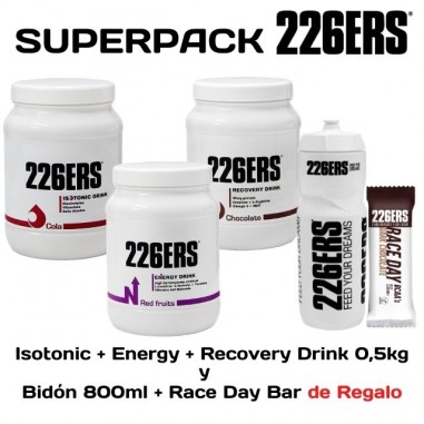 SuperPack 226ERS Isotonic + Energy + Recovery Drink 0,5kg Regalo de bidón y Race Day Bar